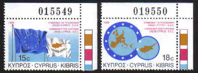 CYPRUS STAMPS SG 716-17 1988 EEC CUSTOMS UNION - MINT (d484)