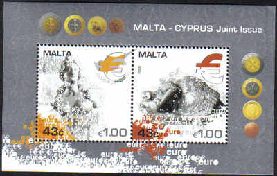 Malta Cyprus 2008 Joint Issue Introduction of the Euro - MINT (d563)