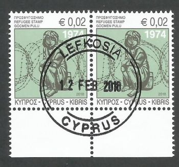 Cyprus Stamps 2018 Refugee Fund Tax - Pair CTO USED (k841)