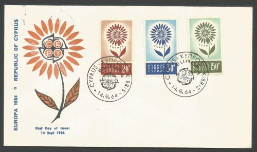 Cyprus Stamps SG 249-51 1964 Europa Flower - Unofficial FDC (k849)