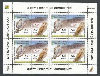 North Cyprus Stamps SG 2019 (e) Europa National Birds - Souvenir sheet  MINT