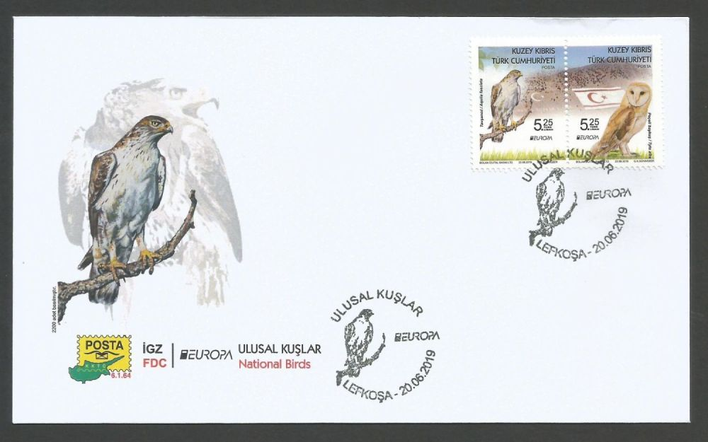 North Cyprus Stamps SG 2019 EUROPA National Birds - Official FDC
