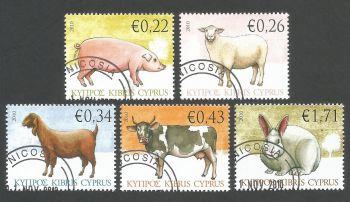 Cyprus Stamps SG 1212-16 2010 Domestic Animals - USED (k906)