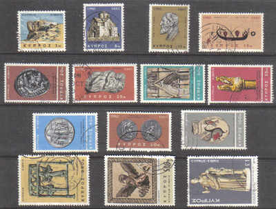 Cyprus Stamps SG 283-96 1966 2nd Definitives Antiquities - USED (d667)