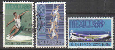 Cyprus Stamps SG 324-26 1968 Mexico Olympic games - USED (d669)