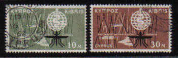 Cyprus Stamps SG 209-10 1962 Malaria Eradication - USED (b122)