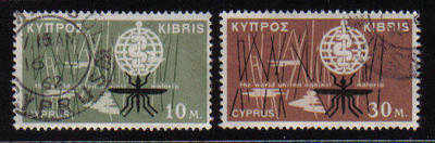 Cyprus Stamps SG 209-10 1962 Malaria Eradication - USED (b122)