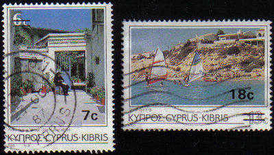 Cyprus Stamps SG 684-85 1986 Surcharge 7c 18c - USED (c616)