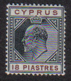 Cyprus Stamps SG 70 1904 18 Piastres King Edward VII - MH (d701)