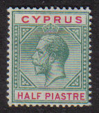 Cyprus Stamps SG 075 1912 1/2 Piastre King George V - MLH (d687)