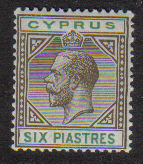 Cyprus Stamps SG 080 1912 Six Piastres King George V - MH
