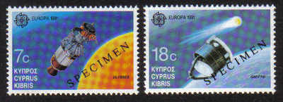 Cyprus Stamps SG 798-99 1991 Europa Space - Specimen MINT (d728)