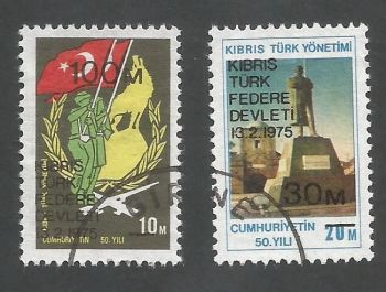 North Cyprus Stamps SG 008-9 1975 Proclamation of Turkish state in Cyprus - USED (L025)
