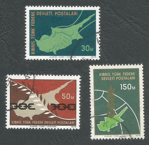 North Cyprus Stamps SG 020-22 1975 Peace in Cyprus - USED (L034)