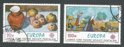 North Cyprus Stamps SG 023-24 1975 Europa Paintings - USED (L035)