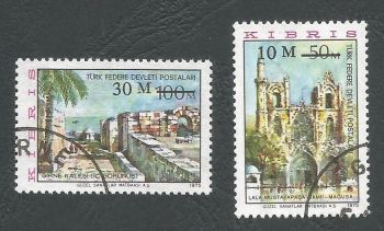 North Cyprus Stamps SG 025-26 1976 Surcharge - USED (L037)