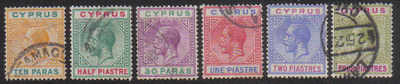 Cyprus Stamps SG 074-79 King George V 1st Definitives - USED (d732)