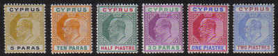 Cyprus Stamps SG 060-65 King Edward VII 2nd Definitives - MLH (d729)