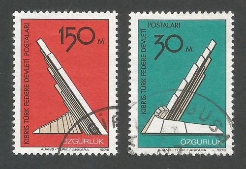North Cyprus Stamps SG 047-48 1976 Liberation Monument - USED (L044)