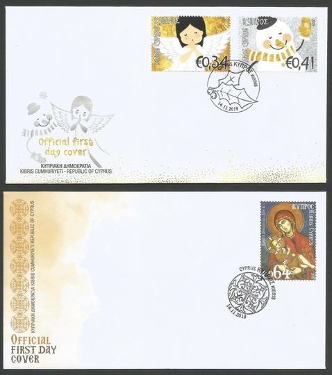 Cyprus Stamps Christmas 2019 Official FDC - set of 2 example