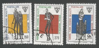 North Cyprus Stamps SG 060-62 1978 Social Security - USED (L050))