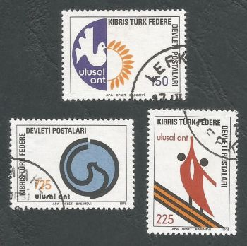 North Cyprus Stamps SG 068-70 1978 National Oath - USED (L053))