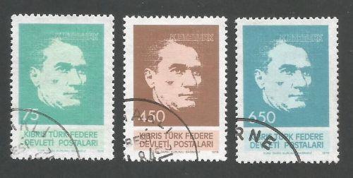 North Cyprus Stamps SG 071-73 1978 Kemal Ataturk - USED (L055)