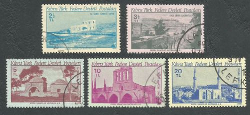 North Cyprus Stamps SG 093-97 1980 Monuments - USED (L061))