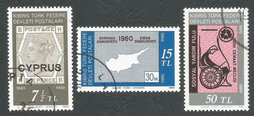 North Cyprus Stamps SG 098-100 1980 Stamp Centenary - USED (L064)