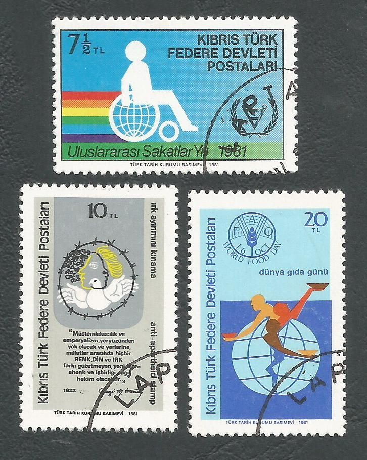 North Cyprus Stamps SG 117-19 1981 Commemorations - USED (L074))
