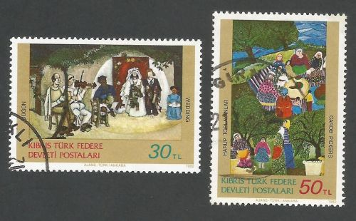 North Cyprus Stamps SG 127-28 1982 Art 1st Series - USED (L080)