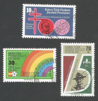 North Cyprus Stamps SG 129-31 1982 Anniversaries and Events - USED (L081)