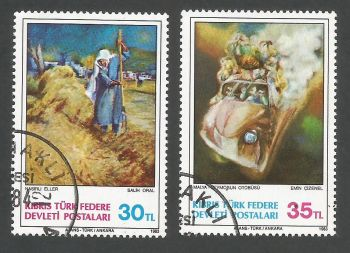 North Cyprus Stamps SG 132-33 1983 Art 2nd Series - USED (L083)