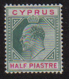 Cyprus Stamps SG 050 1902 Edward VII Half Piastre - MH (d778)
