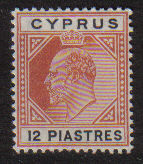 Cyprus Stamps SG 069 1906 12 Piastres King Edward VII - MLH (d776)