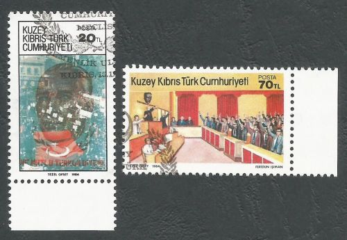 North Cyprus Stamps SG 159-60 1984 1st Anniversary of the TRNC - CTO USED (
