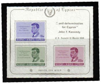 Cyprus Stamps SG 258a MS 1965 J F Kennedy - MLH