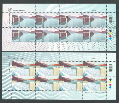 Cyprus Stamps SG 2020 (b) Water reservoirs Full sheets - MINT
