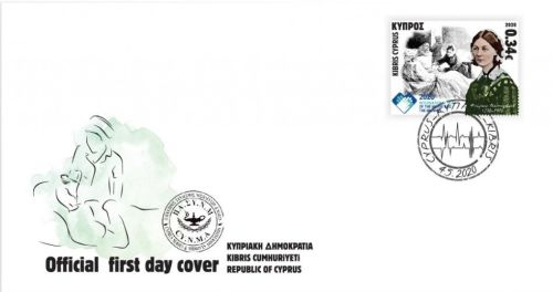 Cyprus Stamps 2020 World Year of Midwifery Florence Nightingale FDC sample