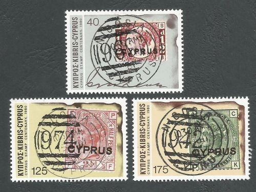 Cyprus Stamps SG 536-38 1980 Stamp Centenary - CTO USED (L202)