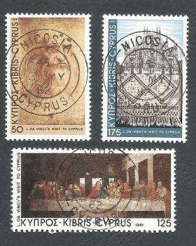 Cyprus Stamps SG 569-71 1981 Leanardo Da Vinci - CTO USED (L193)