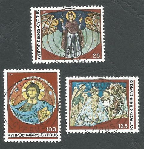 Cyprus Stamps SG 581-83 1981 Christmas murals - CTO USED (L186)