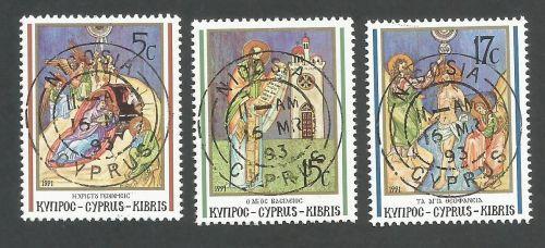 Cyprus Stamps SG 808-10 1991 Christmas - CTO USED (L173)
