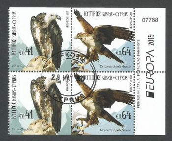 Cyprus Stamps SG 2019 (d) Europa National Birds - Booklet Pane CTO USED (L171)