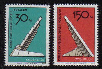 North Cyprus Stamps SG 047-48 1976 Liberation Monument - MH