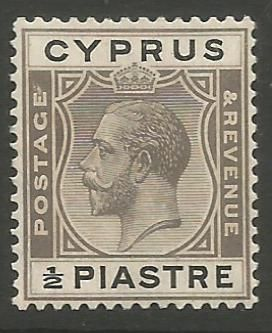 Cyprus Stamps SG 104 1924 1/2 Piastre King George V - MH