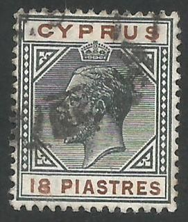 Cyprus Stamps SG 083 1915 18 Piastres - USED (L263)