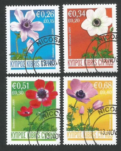 Cyprus Stamps SG 1158-61 2008 Anemone flowers - CTO USED (L273)