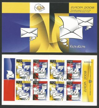 Cyprus Stamps SG 1162-63 (SB11) 2008 Europa The letter - Booklet CTO USED (L278)