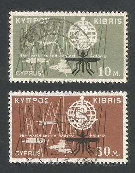 Cyprus Stamps SG 209-10 1962 Malaria Eradication - USED (L285)